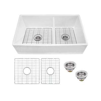 Farmhouse Apron Front Fireclay 33 in. 60/40 Double Bowl Kitchen Sink in White with Grids and Strainers