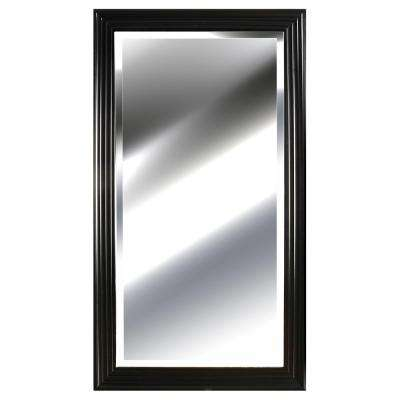 53.8 in. x 29.8 in. Black Ridged Framed Mirror