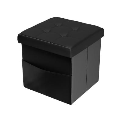 Black Faux Leather Foldable Storage Cube Ottoman with Pocket
