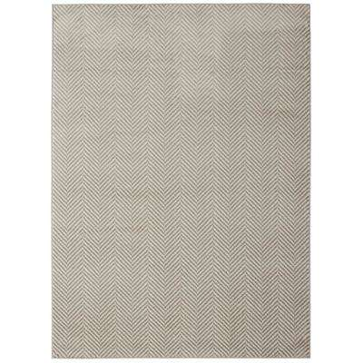 Alpina Collection Ivory and Grey 7 ft. 10 in. x 9 ft. 10 in. AbstractStripes Area Rug