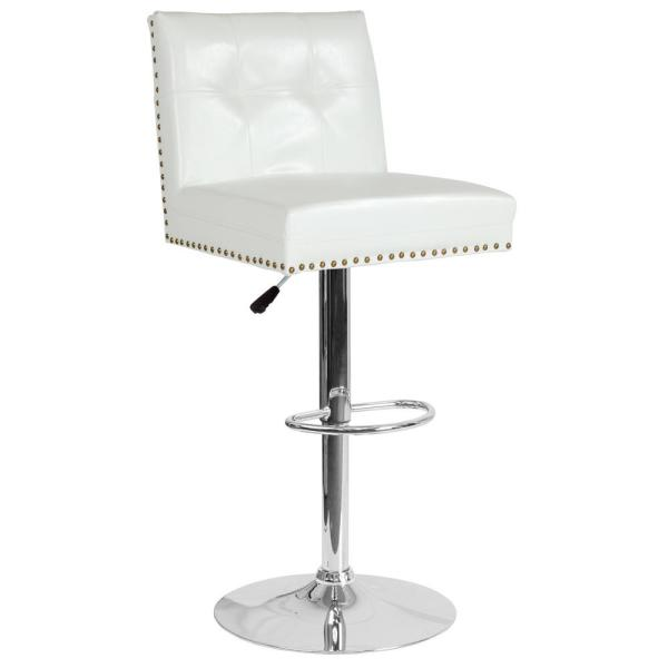 Carnegy Avenue Adjustable Height White Leather Bar Stool CGA-DS-231723-WH-HD
