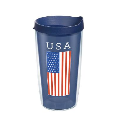 USA Flag 16 oz. Clear Plastic Travel Mugs Double Walled Insulated Tumbler with Travel Lid