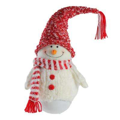 18 in. Tumbling Sam the Snowman with Red Hat and Scarf Christmas Decoration