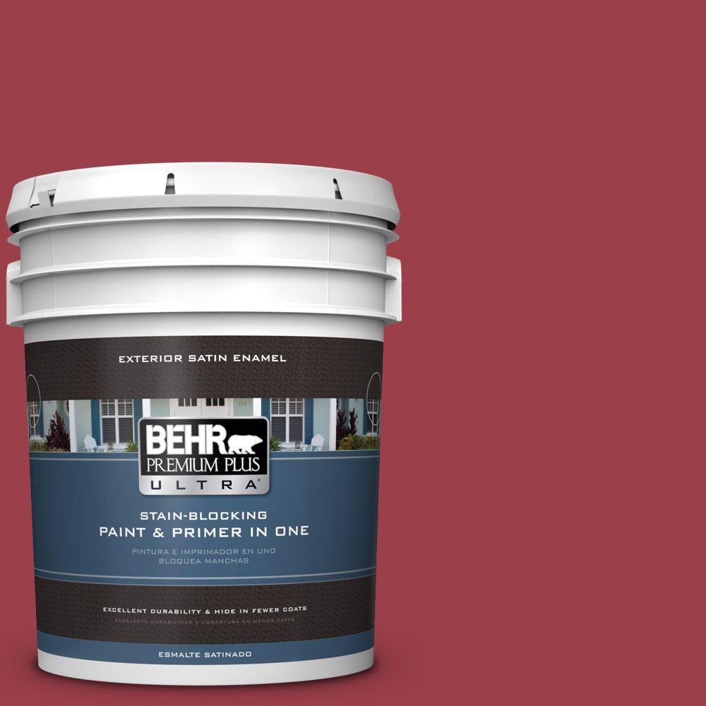 BEHR Premium Plus Ultra 5-gal. #HDC-CL-01 Timeless Ruby Satin Enamel Exterior Paint