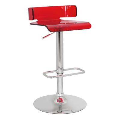 26 in. Amelia Red and Chrome Metal Swivel Adjustable Stool