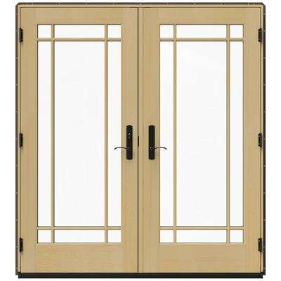 71.25 in. x 79.5 in. W-4500 Dark Chocolate Right-Hand Inswing French Wood Patio Door