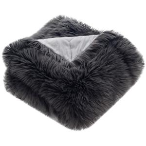 Faux 60 in. x 72 in. Gray Shadow Fox Throw