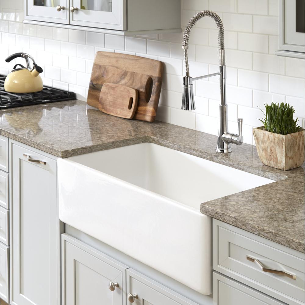 SINKOLOGY Bradstreet II Farmhouse Fireclay 30 in. Single Bowl Kitchen Sink  with Strainer Drain in Crisp White