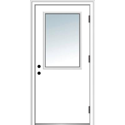 30 in. x 80 in. Classic Left-Hand Outswing 1/2 Lite Clear Primed Steel Prehung Front Door with Brickmould