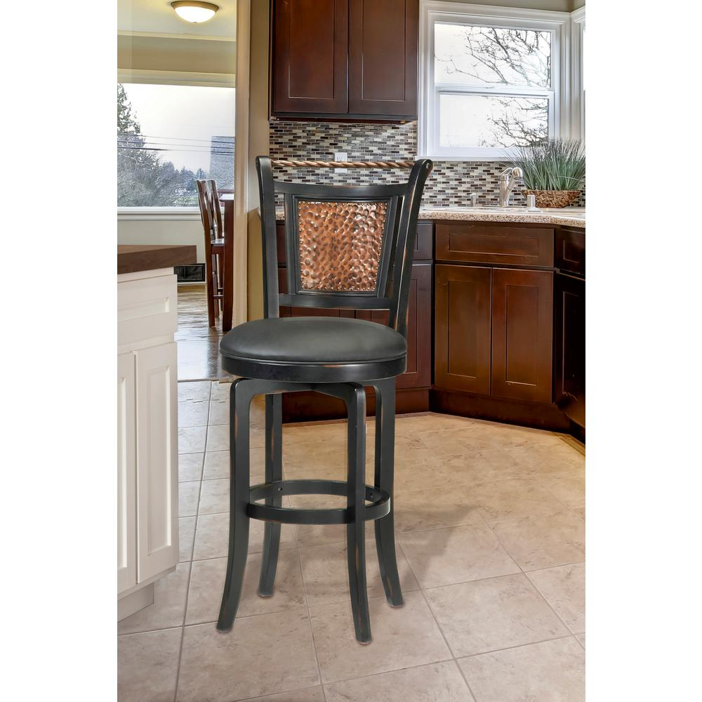 Norwood 30.5 in. Black Swivel Cushioned Bar Stool