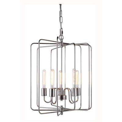 Lewis 5-Light Polished Nickel Pendant Lamp