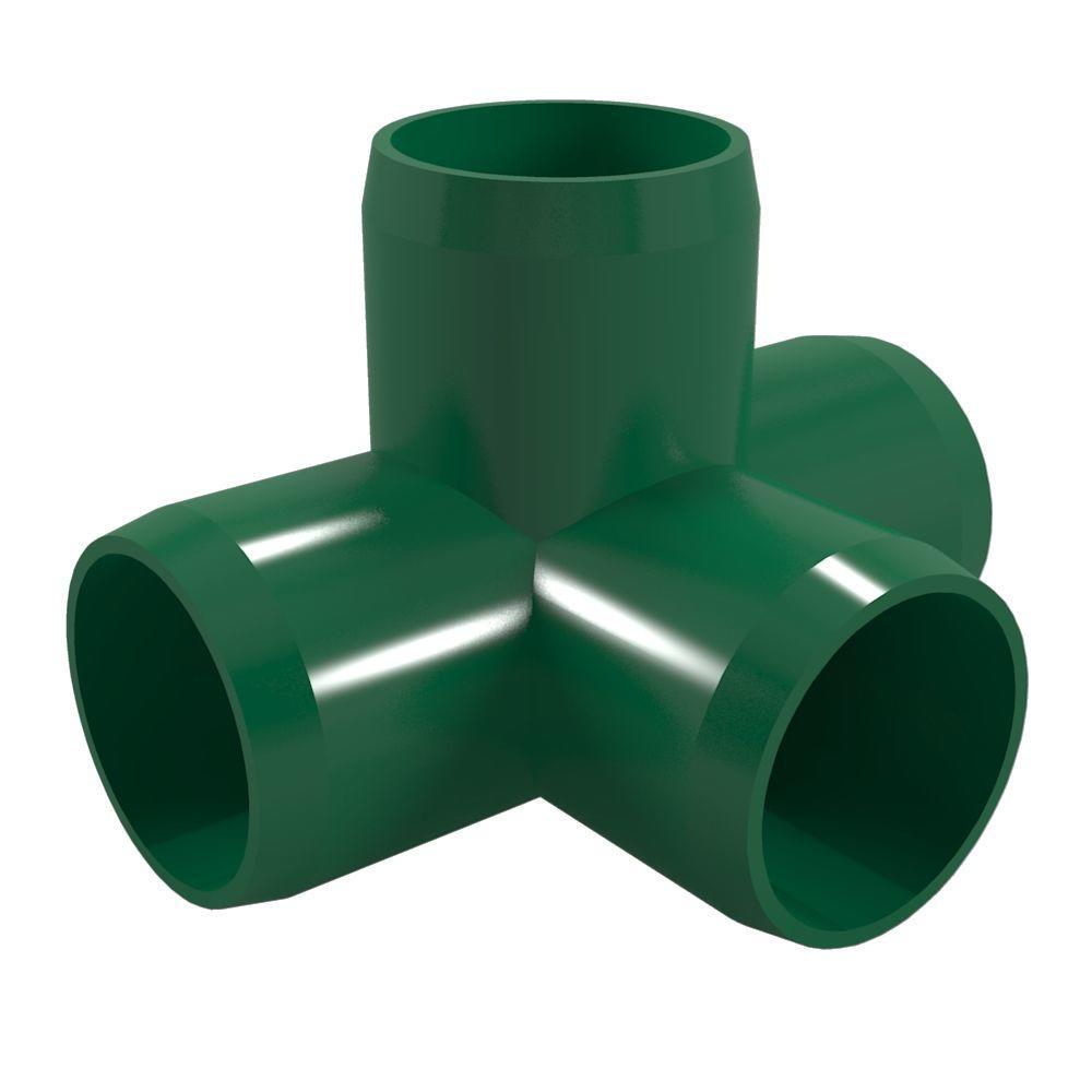 3/4 in. Furniture Grade PVC 4-Way Tee in Green (8-Pack)