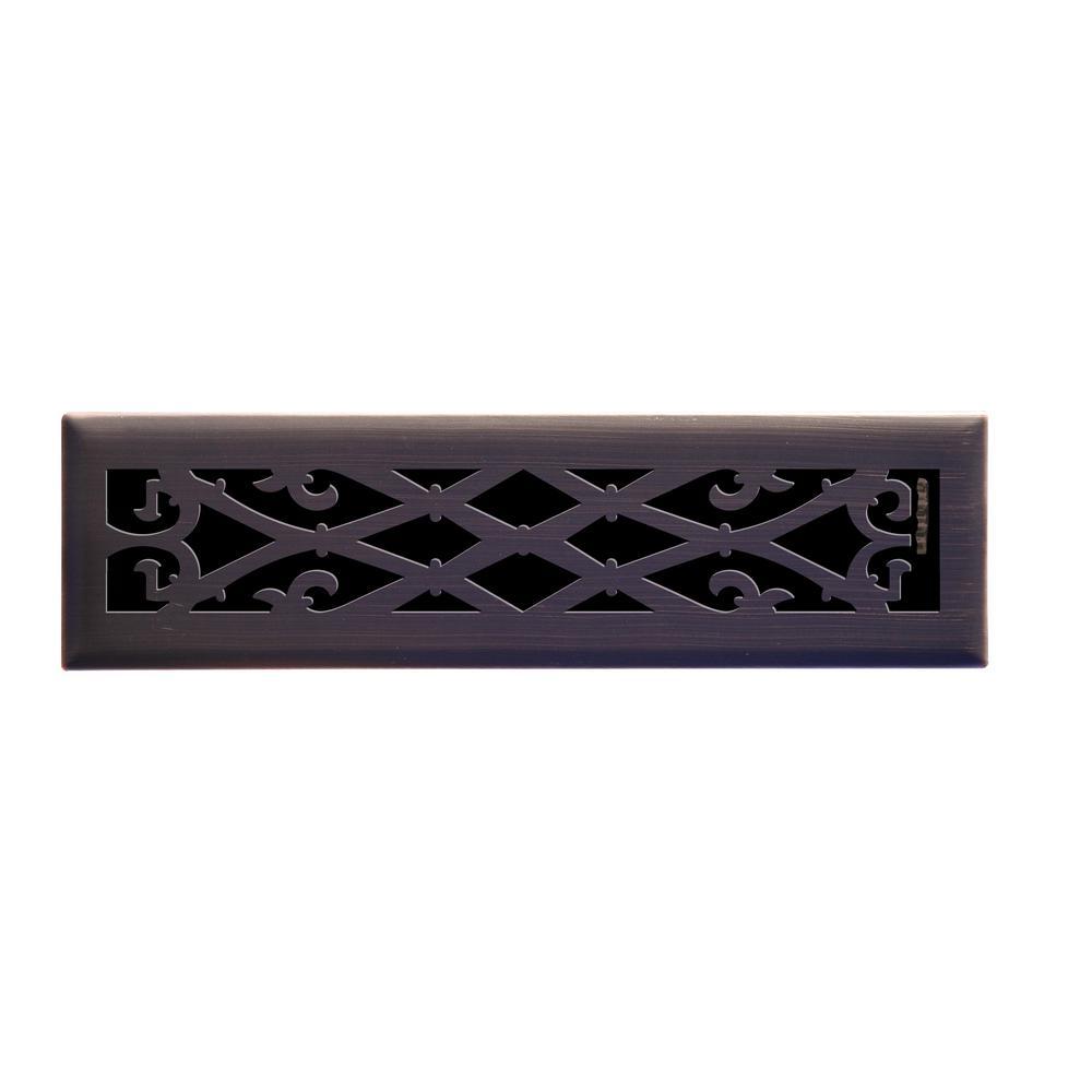 Elegant Scroll 2 in. x 12 in. Steel Floor Register in Oil Rubbed Bronze