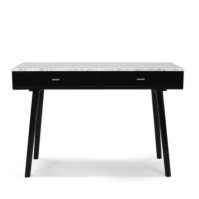 Viola 44 in. Rectangular Carrara White Wood 2-Drawer Writing Desk with Black Legs and Marble Top