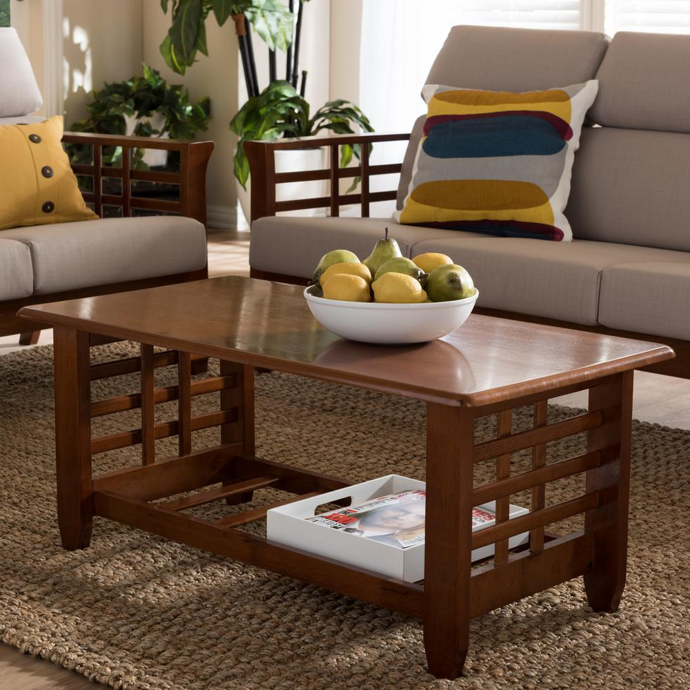 Larissa Medium Brown Wood Finished Coffee Table