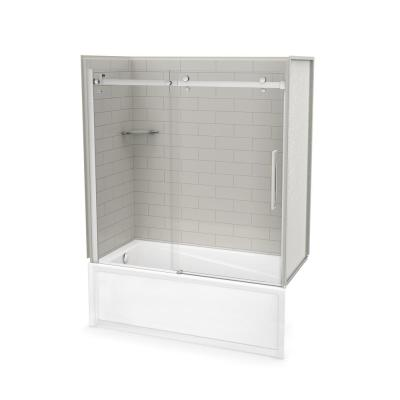 Utile Metro 30 in. x 59.8 in. x 81.4 in. Left Drain Alcove Bath and Shower Kit in Soft Grey with Chrome Door