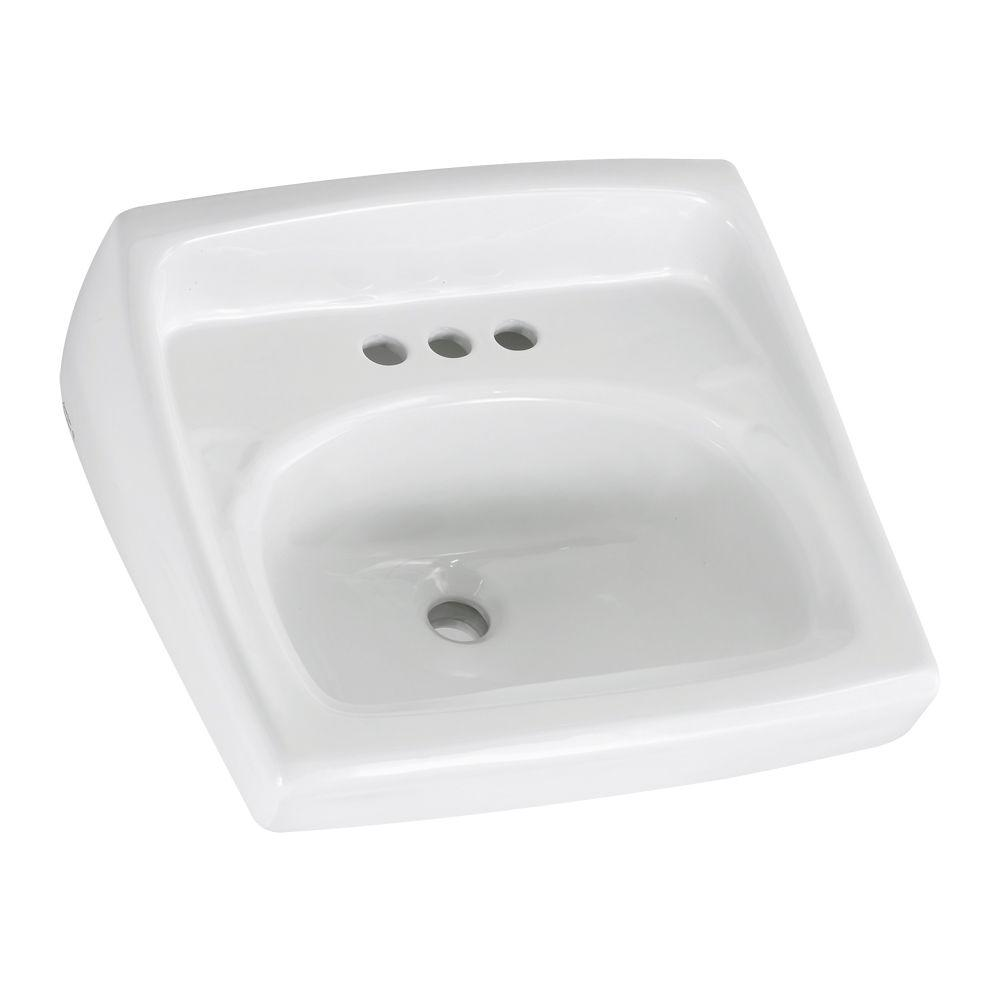 American Standard Lucerne Wall Hung Bathroom Sink In White With 4 In Faucet Holes And Less