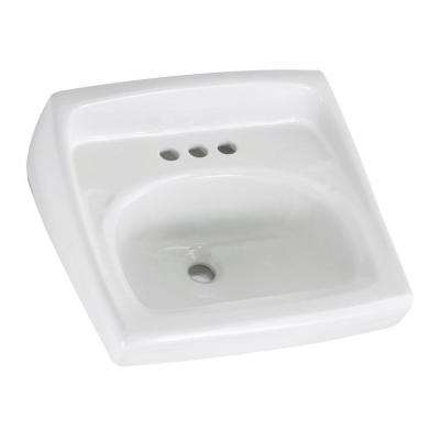 Lucerne Wall Hung Bathroom Sink In White With 4 Faucet Holes And Less Overflow