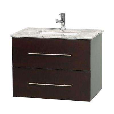 Centra 30 in. Vanity in Espresso with Marble Vanity Top in Carrara White and Under-Mount Sink