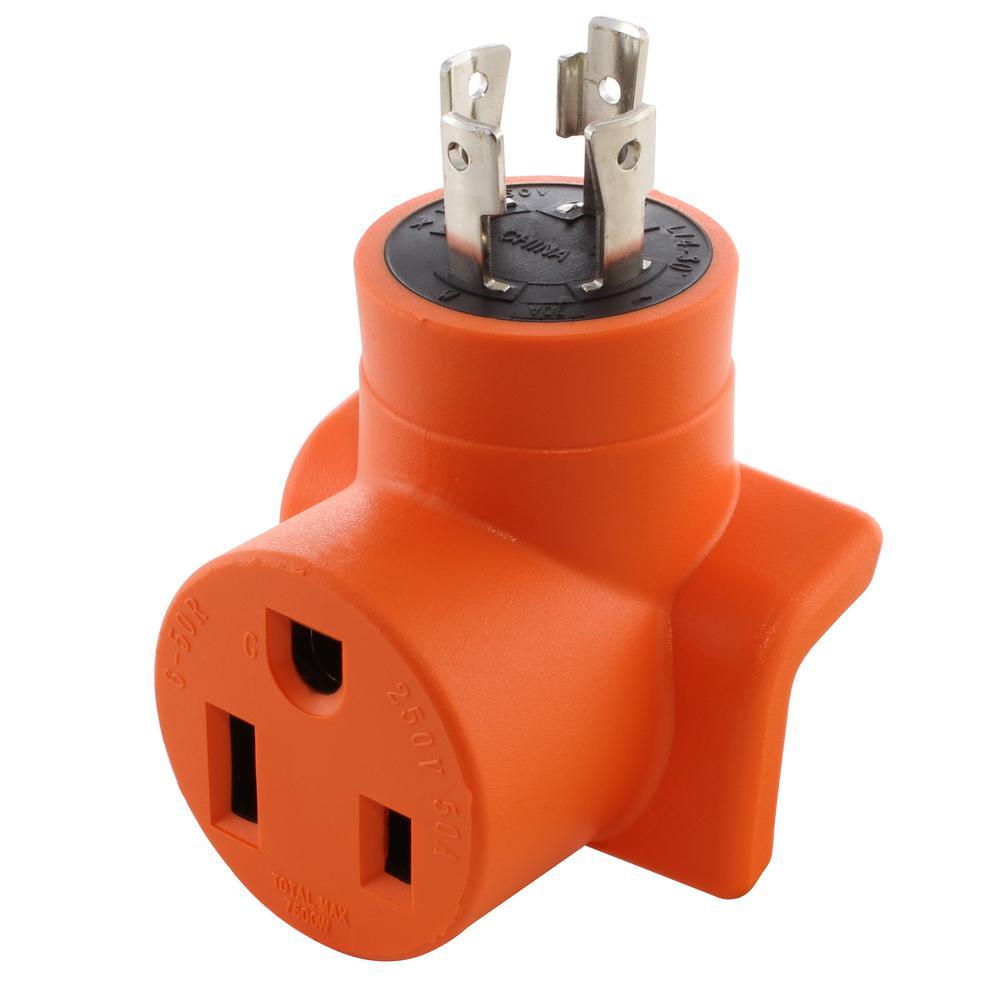 Welder Adapter 30 Amp 4-Prong L14-30P 30 Amp Generator Locking Plug to 6-50R 50 Amp 250-Volt Welder Adapter