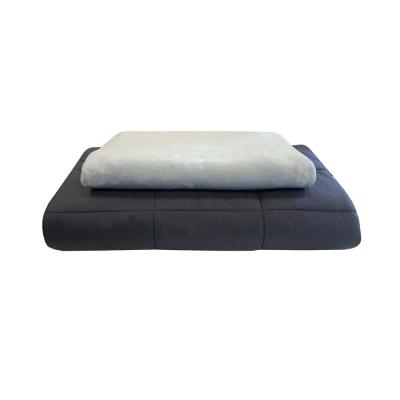 Weighted Acupressure Plush Grey Blanket with Removable Cover