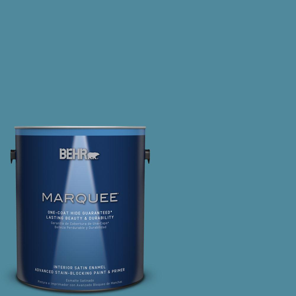 1 gal. #S460-5 Blue Square One-Coat Hide Satin Enamel Interior Paint