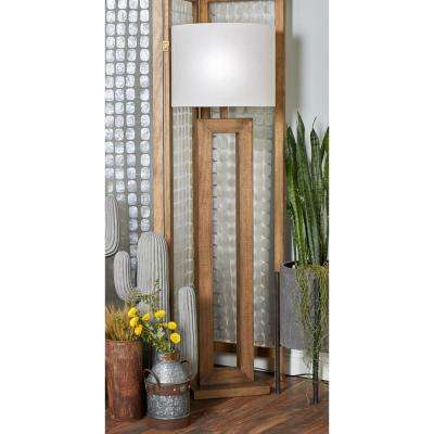 64 in. Brown Wooden Floor Lamp with Open Design Body and White Cylindrical Shade