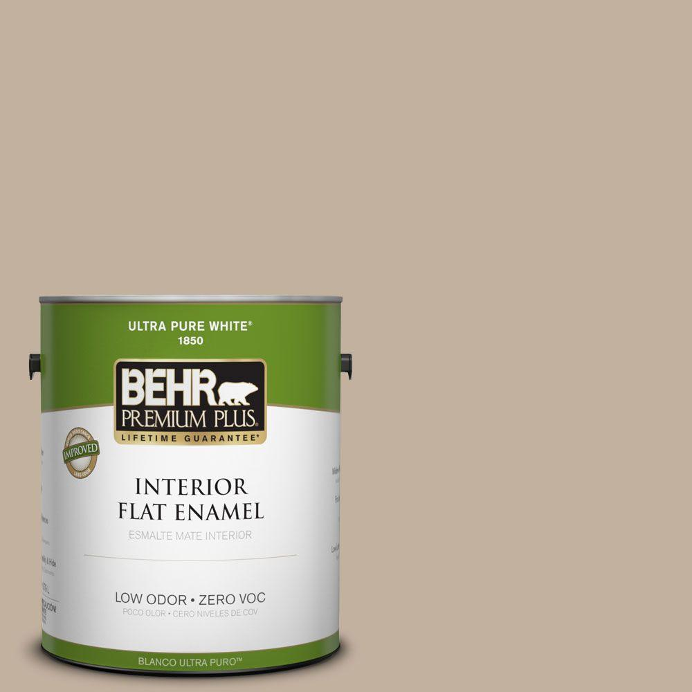 BEHR Premium Plus 1-gal. #ECC-20-1 Canyon View Zero VOC Flat Enamel Interior Paint-DISCONTINUED