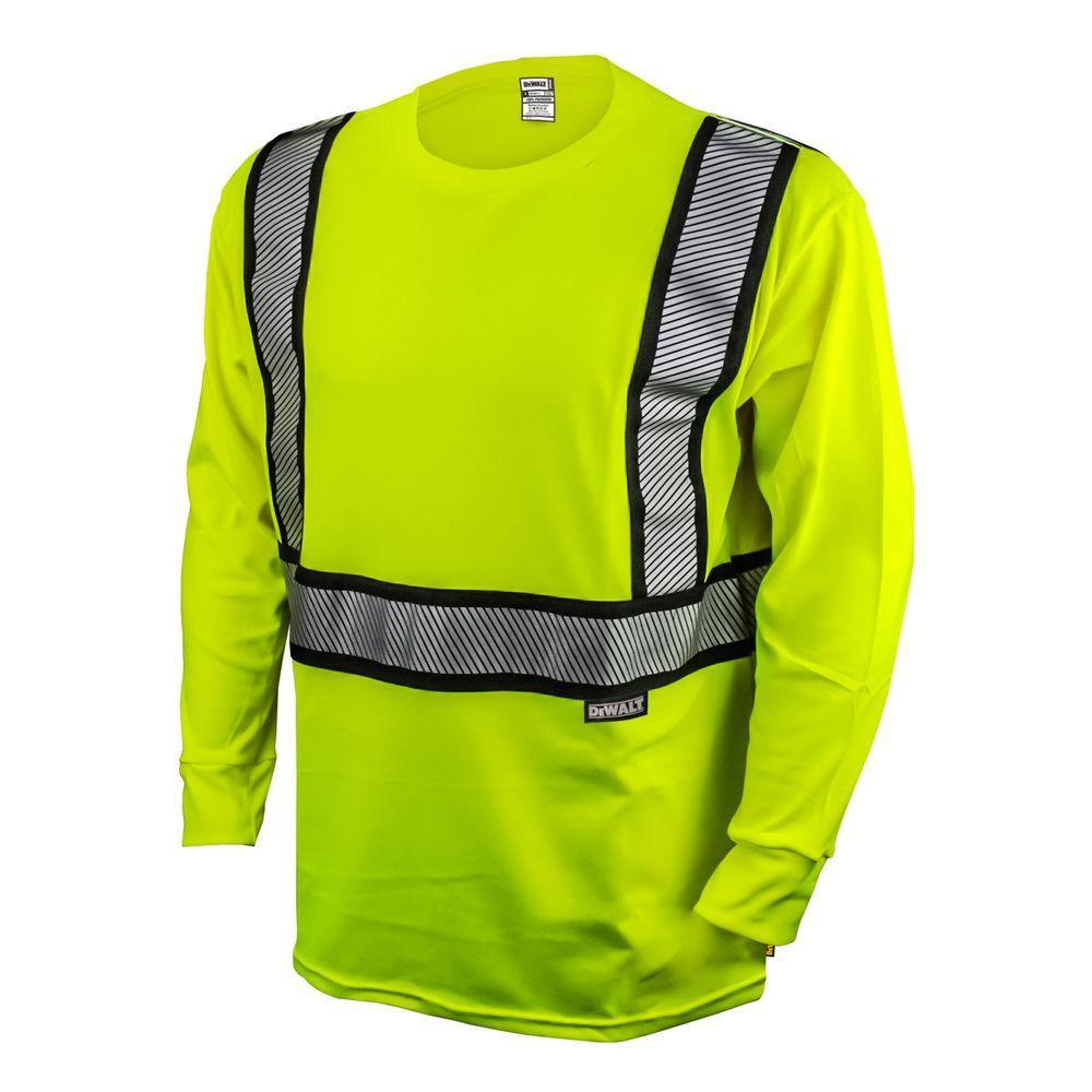 Men's 4X-Large High Visibilty Green Long Sleeve Class 2 Flame Resistant T-Shirt -  DEWALT, DST921-4X