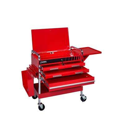 Deluxe 22 in. 4-Drawer Flip Top Utility Cart in Red