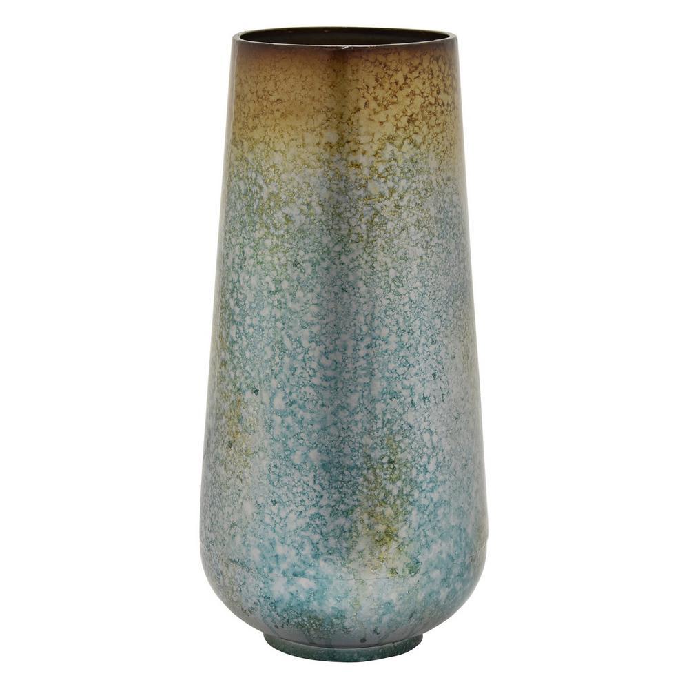 18 in. Green Metal Vase