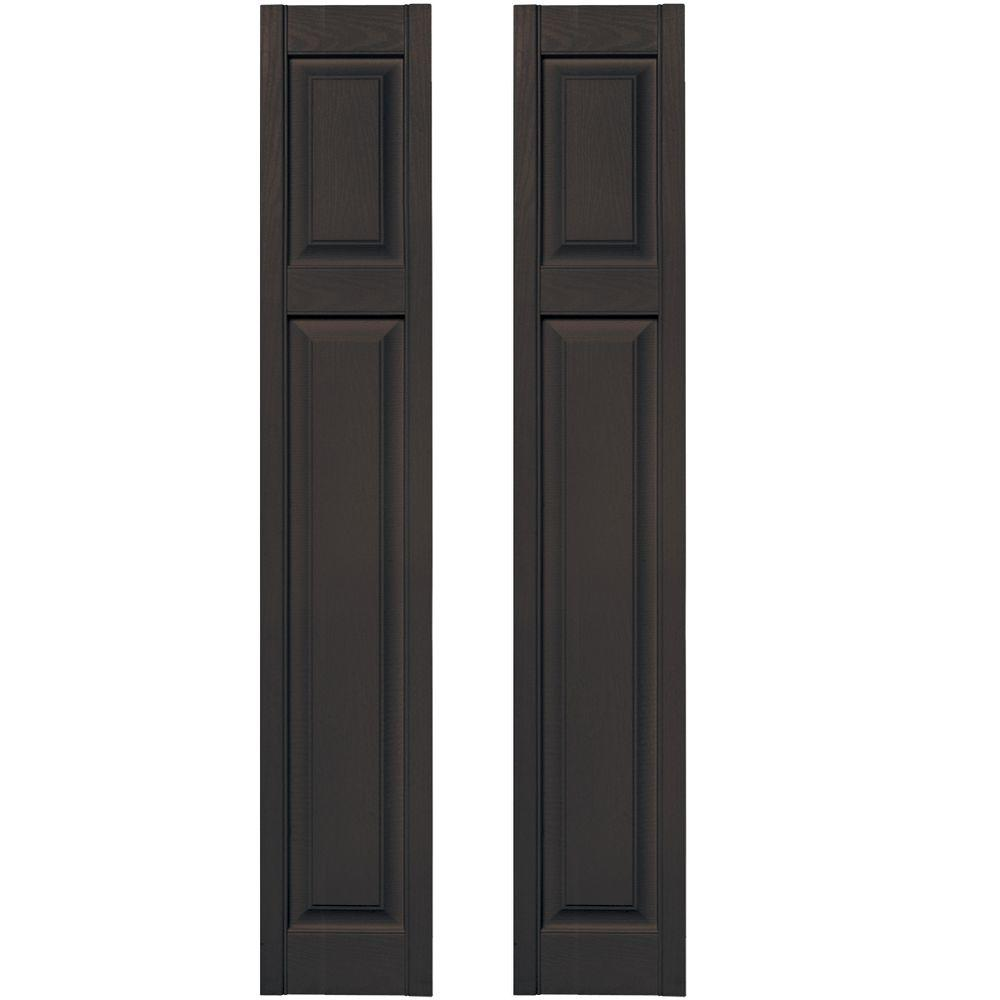 Builders Edge 12 in. x 67 in. Cottage Style Raised Panel Vinyl Exterior Shutters Pair in #010 Musket Brown