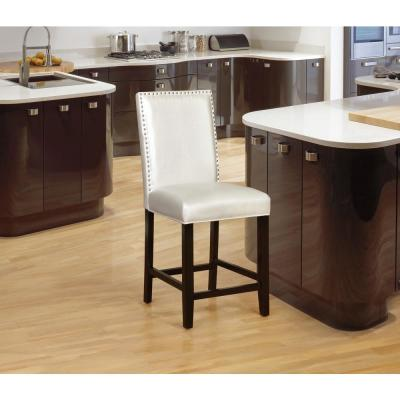 Stewart 24 in. Pearl White Upholstered Walnut Finish Wood Counter Stool