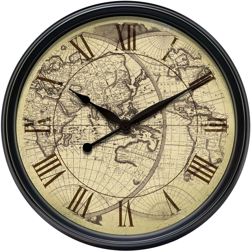 Infinity Instruments 24 in. Distressed Map Wall Clock