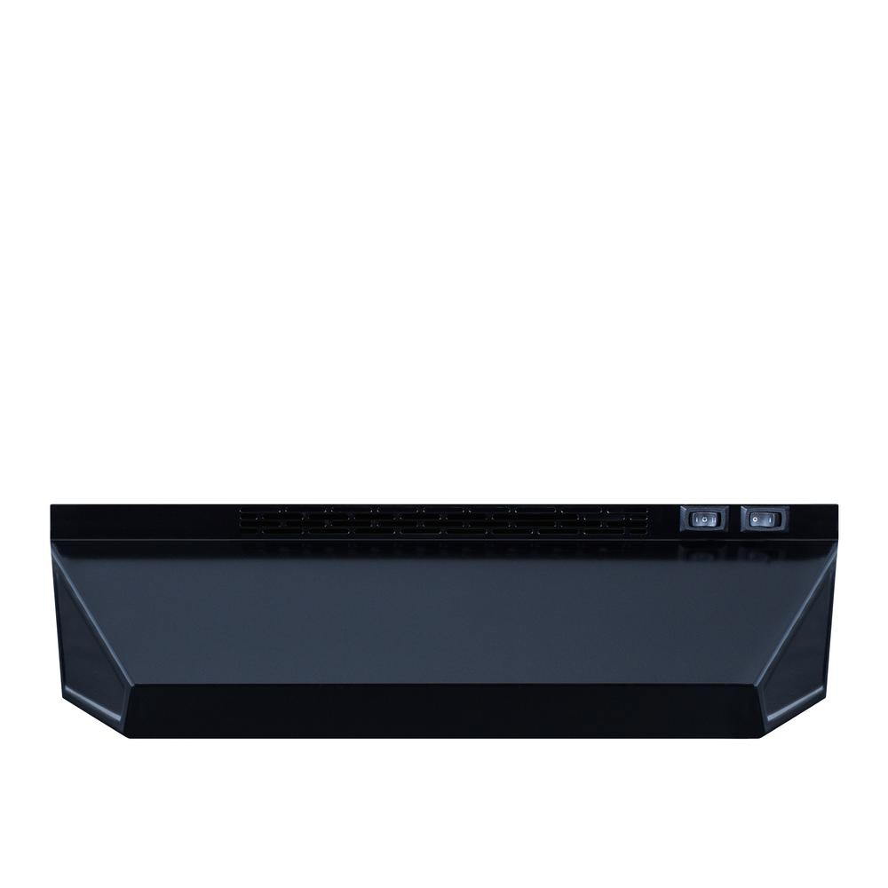 Summit Appliance 18 in. Non-Vented Under Cabinet Range Hood in Black SUMMIT is one of the market's leading suppliers of quality range hoods, with solid construction and a wide selection of choices for every kitchen. The H1700 series features our best selling range hoods, with ready-to-install designs in ductless (recirculating) style. These hoods offer the features all customers want, including a two-speed fan, switchable light, and aluminum-charcoal filter. The H1718B is an 18 in. wide range hood with a black finish. Additional units are available in stainless steel and white and come in 20, 24, 30, and 36 inch widths to match most ranges.