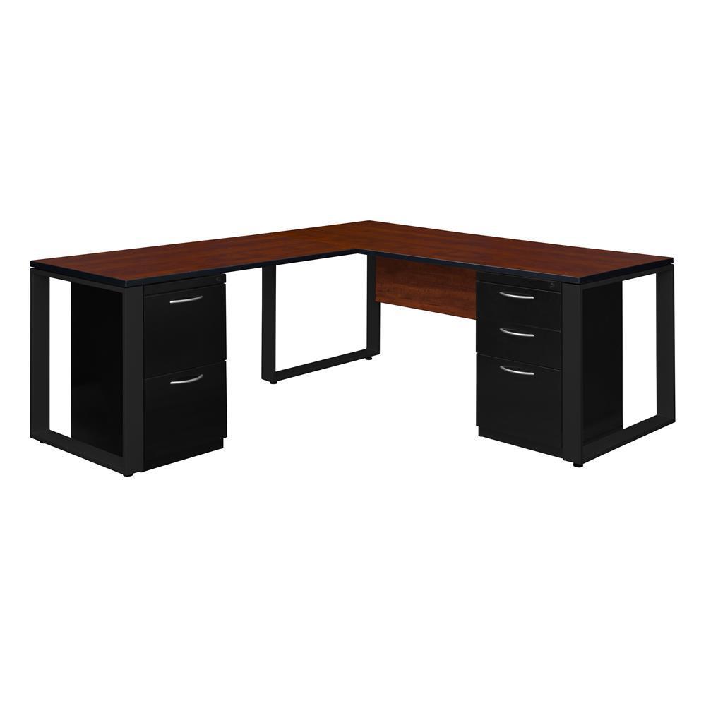Regency Cherry Black Double Metal Pedestal Desk Return 10775