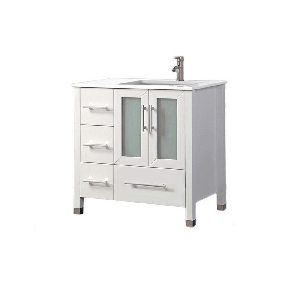 Salem-R 36 in. W x 22 in. D x 40 in. H Vanity in White with Microstone Vanity Top in White with White Basin