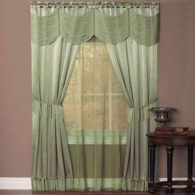 Sheer Halley Sage Window Curtain Set - 56 in. W x 84 in. L
