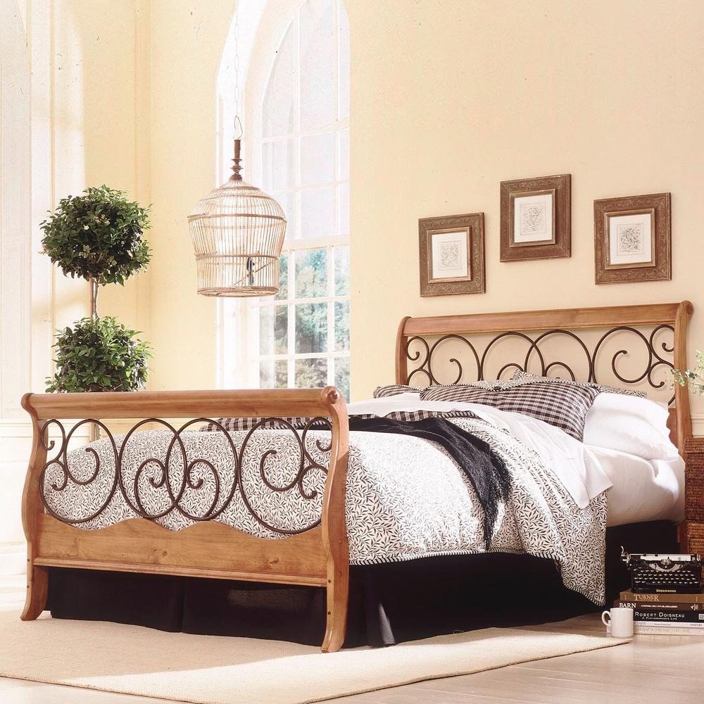 Fashion Bed Group Dunhill Honey Oak King Size Complete With Wood Sleigh Style Frame