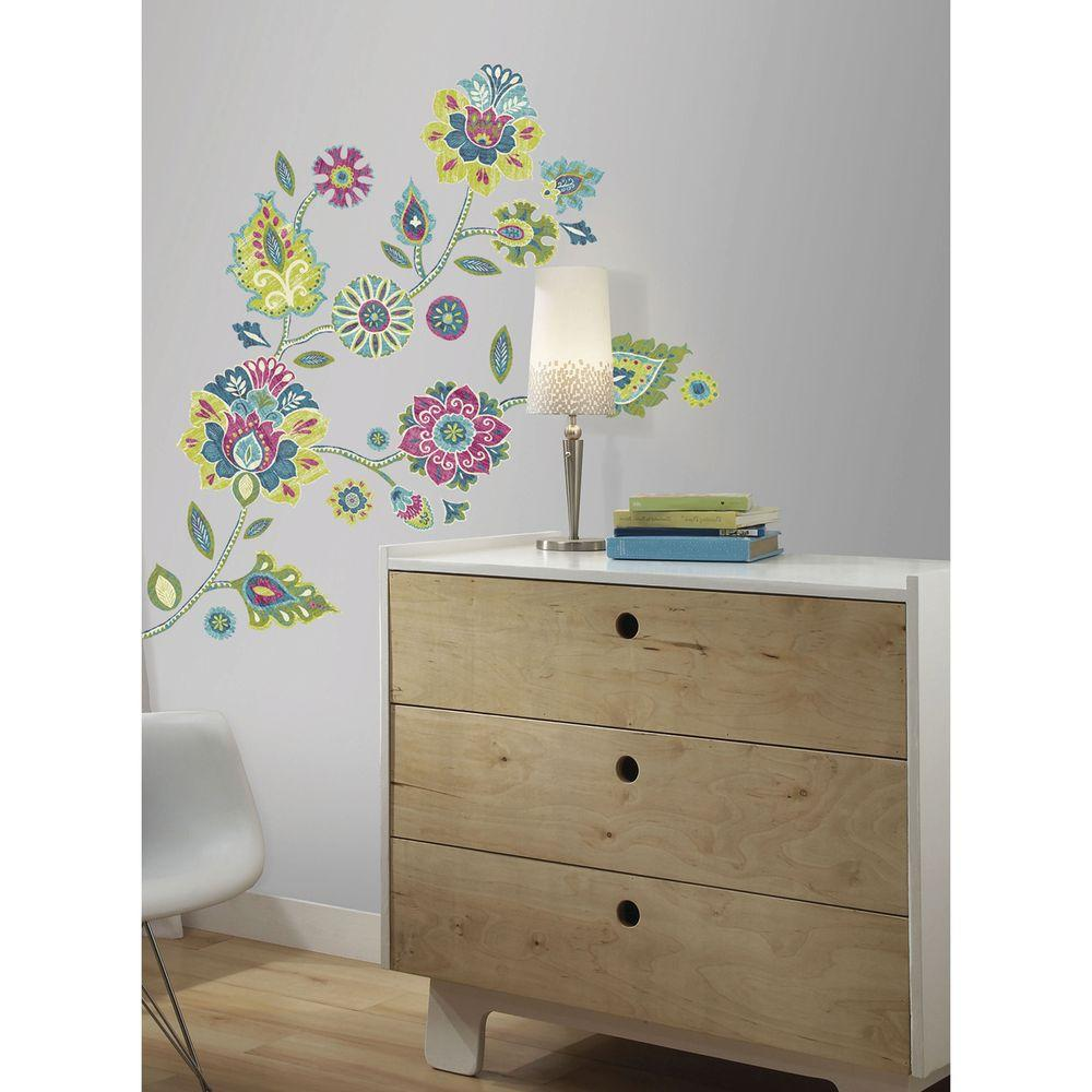 Boho Floral Peel And Stick Giant Wall Decals RMK2468GM   The Home Depot