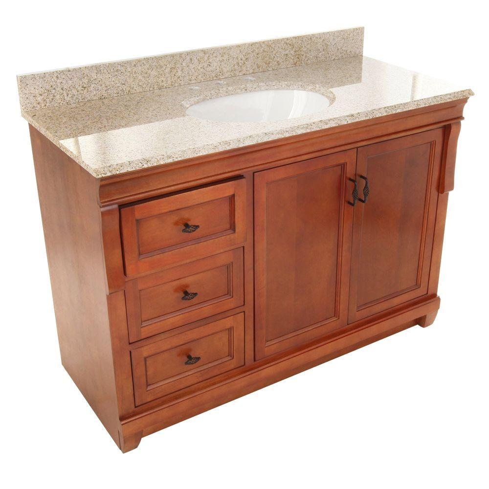 Naples 49 in. W x 22 in. D Vanity with Left Drawers in Warm Cinnamon with Granite Vanity Top in Beige