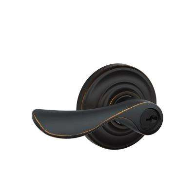 Champagne Aged Bronze Keyed Entry Door Lever with Andover Trim