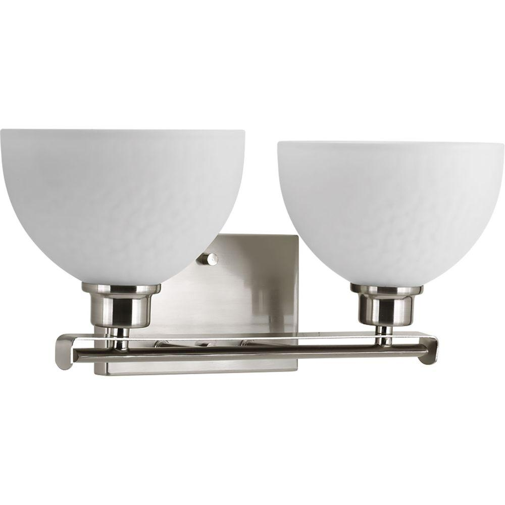Legend Collection 2-Light Brushed Nickel Vanity Light with Sculpted Glass Shades