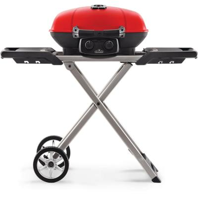 TravelQ Portable Propane Gas Grill with Cast Iron Grates, Bonus Griddle and Easy Folding Scissor Cart in Red
