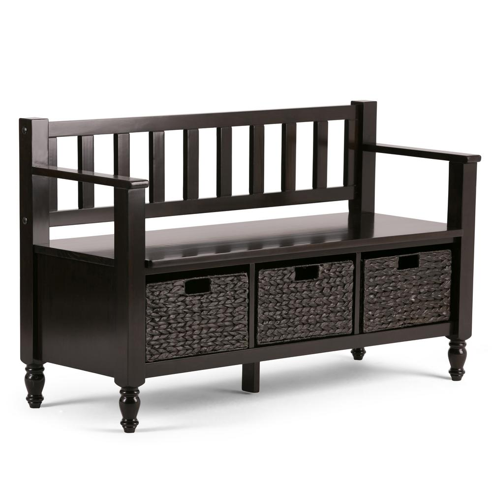 Simpli Home Dakota Solid Wood 48 in. Wide Transitional Entryway Storage Bench in Dark Exeter Brown