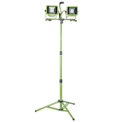 6,000 Lumen Weatherproof Dual Head LED Work Light with Metal Tripod, Impact-Resistant Glass Lens and 9' Cord