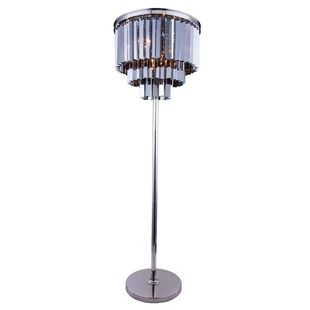 Sydney 63 in. Polished Nickel Floor Lamp with Silver Shade Grey Crystal