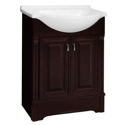 Valencia 26.5 in. W Bath Vanity in Crimson with Cultured Marble Euro Vanity Top in White with White Sink