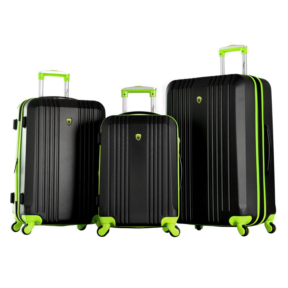 OLYMPIA USA Olympia USA Apache II 3-Piece Expandable Hardcase Spinner Set, Black+Lime