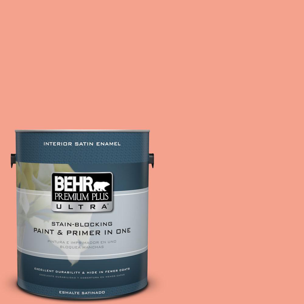 BEHR Premium Plus Ultra Home Decorators Collection 1-gal. #HDC-MD-18 Peach Mimosa Satin Enamel Interior Paint
